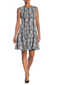 Gabby Skye Cap Sleeve Floral Print Dress