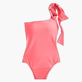 Bow-tie one-shoulder one-piece swimsuit