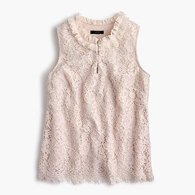 Lace ruffle-neck top