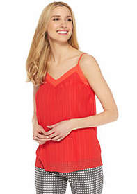 V-Neck Spaghetti Strap Plisse Tank with Trim