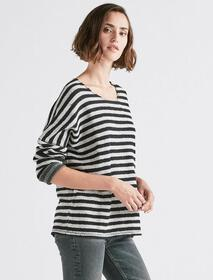 Terry Stripe Pullover