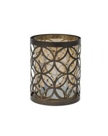 5x6 Inch Bronze Circle Pattern Metal And Glass Can