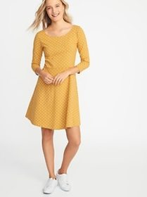 Fit & Flare 3/4-Sleeve Jersey Dress for Women
