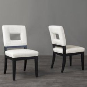 Baxton Studio Leather Dining Chair, Set of 2, Whit