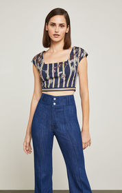 Striped Floral-Sequined Crop Top