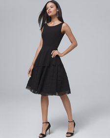 Black Tiered Fit-and-Flare Dress