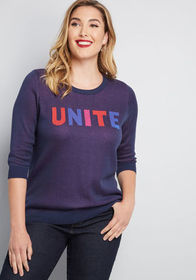 ModCloth Unite Sweater in Navy Blue
