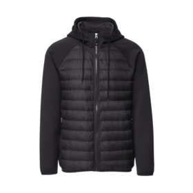 MEN'S HOODED MIX MEDIA DOWN JACKET