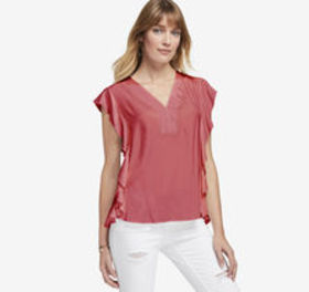 Ruffled Grosgrain V-Neck Top