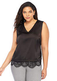 Plus Size Lace Trim Sleeveless Shell
