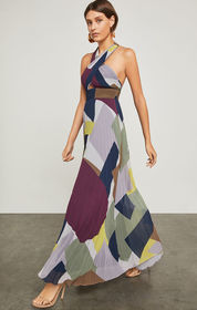 Pleated Colorblocked Halter Gown