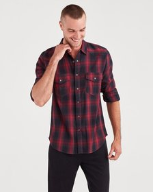 Long Sleeve Western Shirt in Vibrant Red and Black