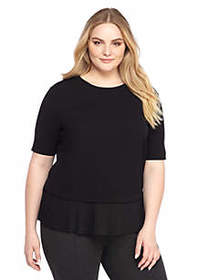 Plus Size Elbow Sleeve Pleated Hem Top