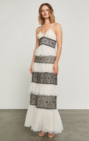 Farrell Embroidered Lace-Trimmed Gown