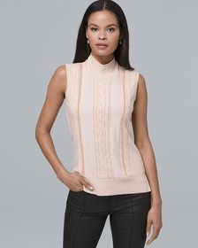 Sleeveless Cable Knit & Beaded-Trim Sweater