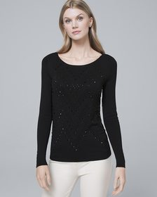 Embellished-Front Sweater