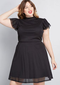 ModCloth Artistic Outing Mock Neck Dress in Black
