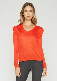 Samantha V Neck Ruffle Sweater