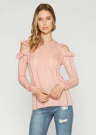 Charlotte Cold Shoulder Ruffle Sweater