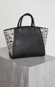 Zoey Leather Snake Tote