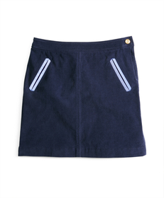 Girls Corduroy Skirt with Oxford Trim