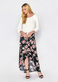Printed Faux Wrap Maxi Skirt