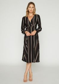 Jamie Satin Stripe Midi Wrap Dress