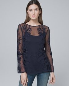 Floral-Embroidered Mesh Tunic