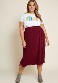 ModCloth Simplistic Swing Ribbed Knit Skirt in Bur