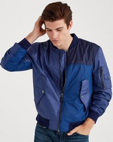Mixed Media Bomber in Patchwork Blue