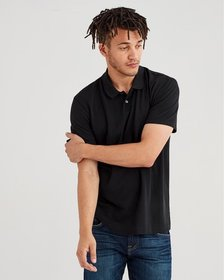 Short Sleeve Pique Polo in Old Black