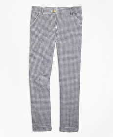Girls Cotton Stretch Gingham Pants