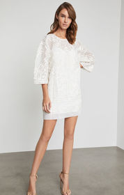 Embroidered Organza Shift Dress