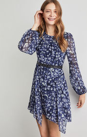 Faux Leather-Trimmed Floral Dress