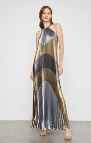 Metallic Colorblocked Pleated Gown