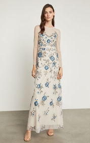 Floral Embroidered Evening Gown