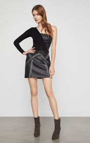 Embroidered Faux Leather Mini Skirt