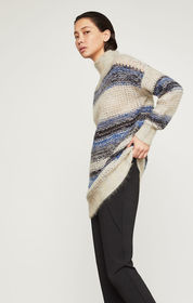 Striped Mohair Tunic Sweater