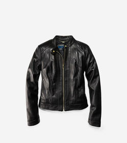 Smooth Leather Stand Collar Jacket