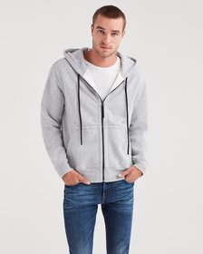 Zip Through Hoodie in Heather Grey