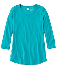Pima Cotton Tee, Three-Quarter-Sleeve Side-Button