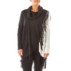 NY COLLECTION Asymmetrical Fringe Sweater with Cow