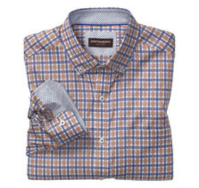 Layered Windowpane Button-Down Collar Shirt