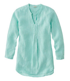 Premium Washable Linen Shirt, Splitneck Tunic Long