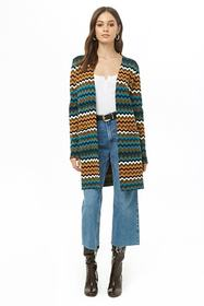 Multicolored Zigzag Print Cardigan