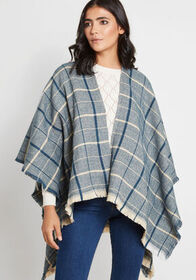 Thanks for Cabin Me Plaid Shawl in Navy