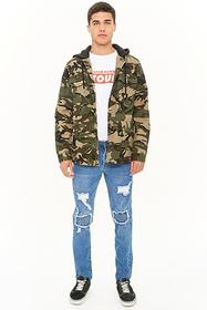 Distressed Ribbed Panel Skinny Jeans