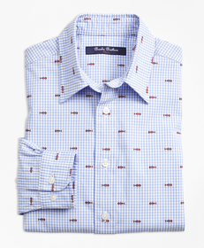 Boys Cotton Gingham Sport Shirt with Fishbone Embr