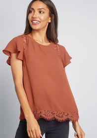 ModCloth Lace Be Honest Short Sleeve Top in Rust O