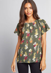 ModCloth Peaceful Plans Floral Top in Olive Green